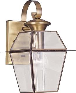 Livex Lighting 2181-01 Westover 1-Light Outdoor Wall Lantern, Antique Brass