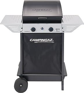 Campingaz Barbecue à Gaz Xpert 100 L, Barbecue Compact 2 Brûleurs, Puissance 7.1kW, 2 Tablettes Latérales et Chariot en Acier