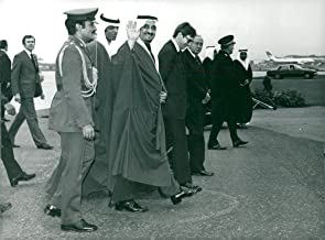 Vintage photo of Crown Prince Fahd of Saudi Arabia was received by British Prime Minister Harold Wilson on arrival at Heathrow Airport