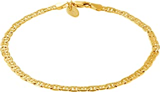 LIFETIME JEWELRY 4mm Mariner Link Chain Anklet for Women & Men 24k Gold Plated with Free Lifetime Replacement Guarantee