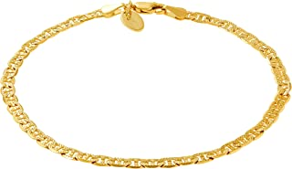 Ankle Bracelets for Women Men and Teen Girls [ 4mm Gold Mariner Link Chain Anklet ] 20X More 24k Plating Than Other Foot Jewelry - Cute and Durable for Beach or Wedding 9 10 11 inches