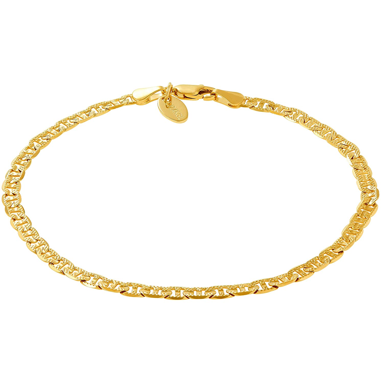 Lifetime Jewelry Ankle Bracelets for Women Men and Teen Girls [ 4mm Gold Mariner Link Chain Anklet ] 20X More Real 24k Plating Than Other Foot Jewelry - Cute & Durable for Beach or Wedding 9