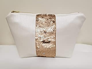 Large ivory makeup cosmetic bag with gold/silver reversible sequins and zipper, for travel, by Peradi