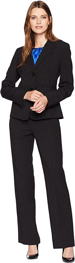 Basketweave Two-Button Pants Suit w/ Cami