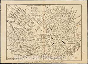 Historic Pictoric Map, 1870-1871 [Map of a part of Boston], Vintage Wall Art : 44in x 32in