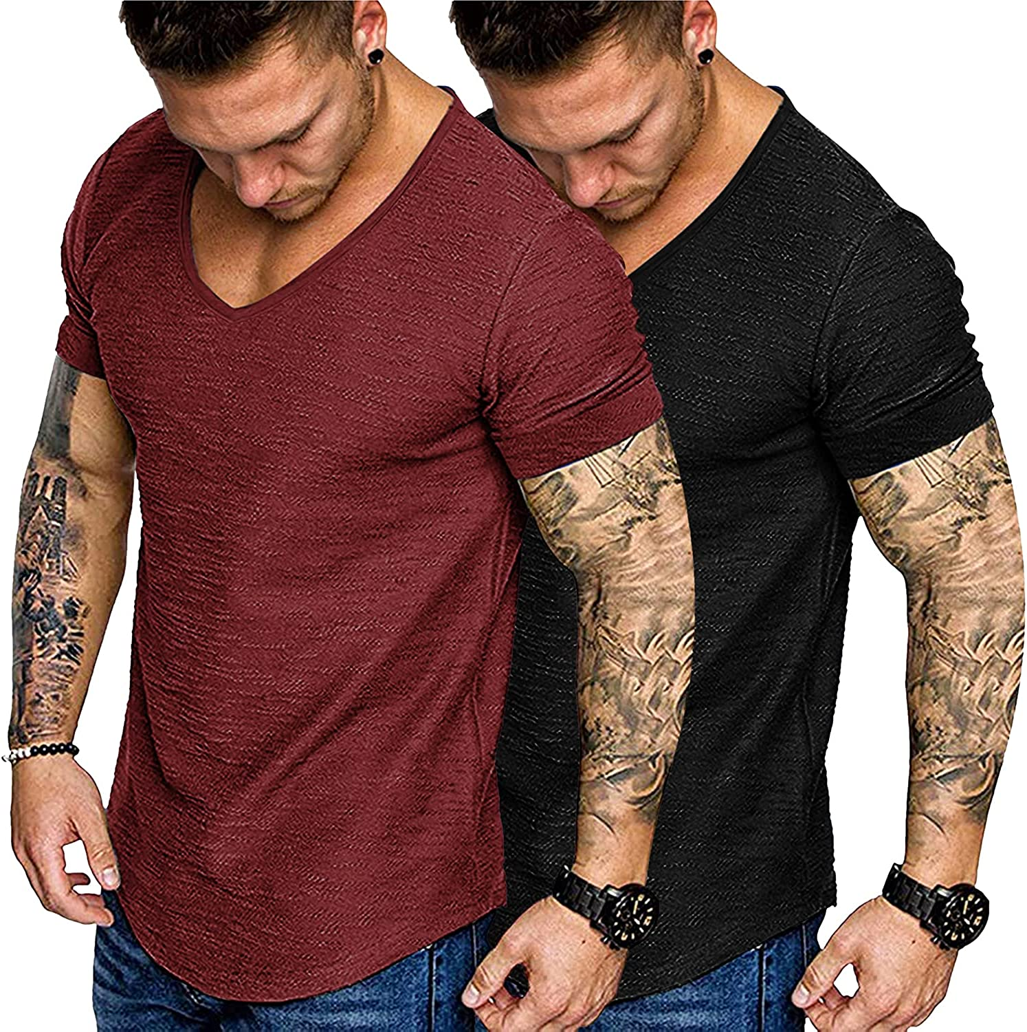 COOFANDY Mens 2 Pack Muscle V Neck T Shirt Fitted Gym Workout Short Sleeve Tee
