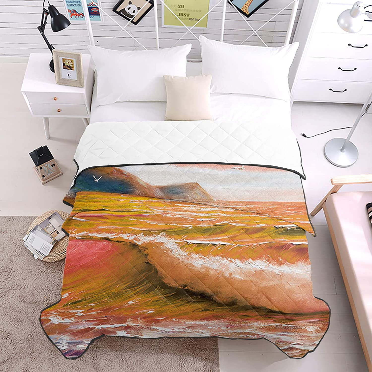 Bedding Duvets Hand-painted Seabirds Spasm price Orange Wave Beach Ar Ocean Don't miss the campaign