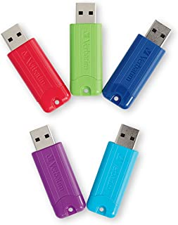 Verbatim 32GB Pinstripe USB 3.0 Flash Drive Retractable Thumb Drive - 5 Pack - Multicolor (Green, Blue, Red, Purple, Cyan)