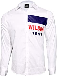 WILSON MARTIN Men's Casual White Cotton Shirt