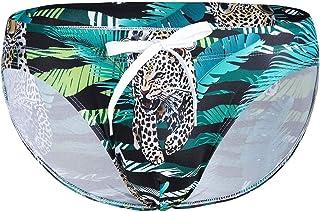 ranrann Mens Bikini Swim Briefs Low Waist Bikini Trunks Floral Printed Swimwear with Drawstring