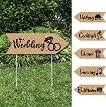 Rustic Kraft - Arrow Wedding and Reception Directional Signs - Double Sided Outdoor Yard Sign - Set of 6