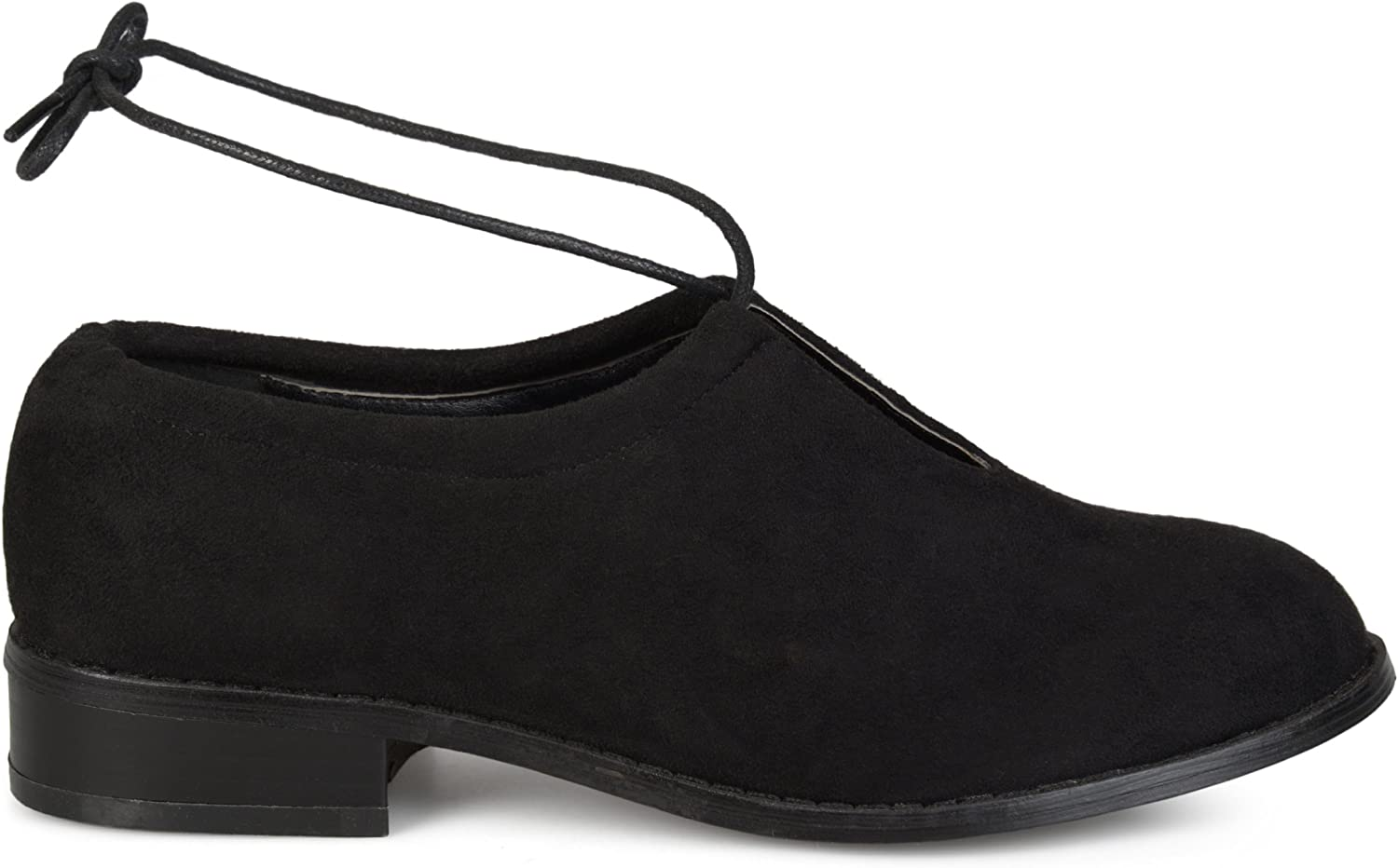 Brinley Co. Womens Faux Suede Ankle Lace-up Cut-Out Round Toe Flats