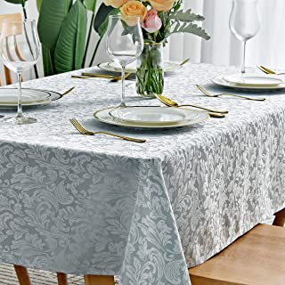 maxmill Square Tablecloth Damask Design Spillproof Wrinkle Free Oil Resistant Heavy Weight Soft Table Cloth Decorative Fabric Table Cover for Outdoor and Indoor Use Square 52 x 52 Inch Seafoam