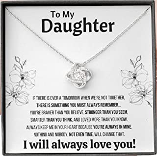 """To My Daughter """"Not Even Time"""" Love Knot Necklace with Message Card and Gift Box. Gift for Daughter. Daughter Gift. Neckla..."""