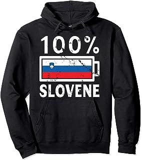 Slovenia Flag Hoodie   100% Slovene Battery Power Tee