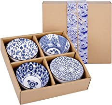 VanEnjoy Set of 4 Japanese Style Ceramic Rice Bowl with Gift Box,Blue and White Pattern Bowls Set,Underglazed Dinnerware, ...