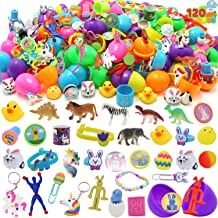 120 Pcs Prefilled Printed Easter Eggs Hinged 2 ⅜ with Assorted Toys and Stickers for Kids Basket Stuffers Fillers, Easter ...