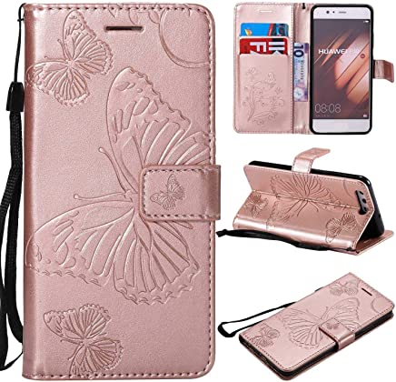 Huawei P10 Case Cover  Bravoday  High Quality Leather   Card ID Holder   Wallet Flip Case   Drop Proof  for Huawei P10 Case -Rose Gold