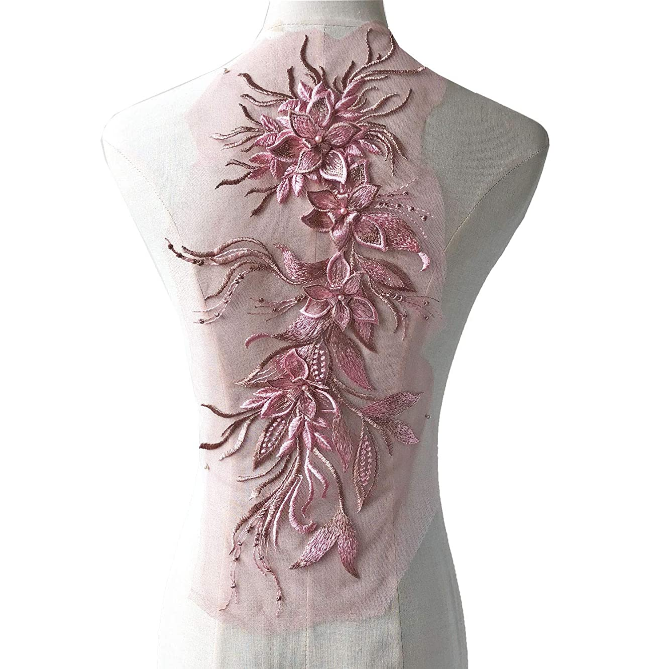 Delicate Floral Lace Patch Embroidery Beading Flower Vines Applique for Prom Ballgown Party Costumes Dusky Pink Color