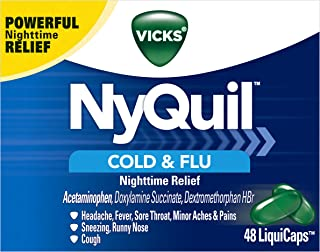 Vicks NyQuil Cough, Cold & Flu Nighttime Relief, 48 LiquiCaps - #1 Pharmacist Recommended – Nighttime Sore Throat, Fever, and Congestion Relief (Packaging May Vary)