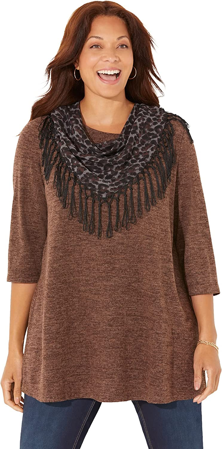 Catherines Women's Plus Size Impossibly Soft Tunic & Scarf Duet