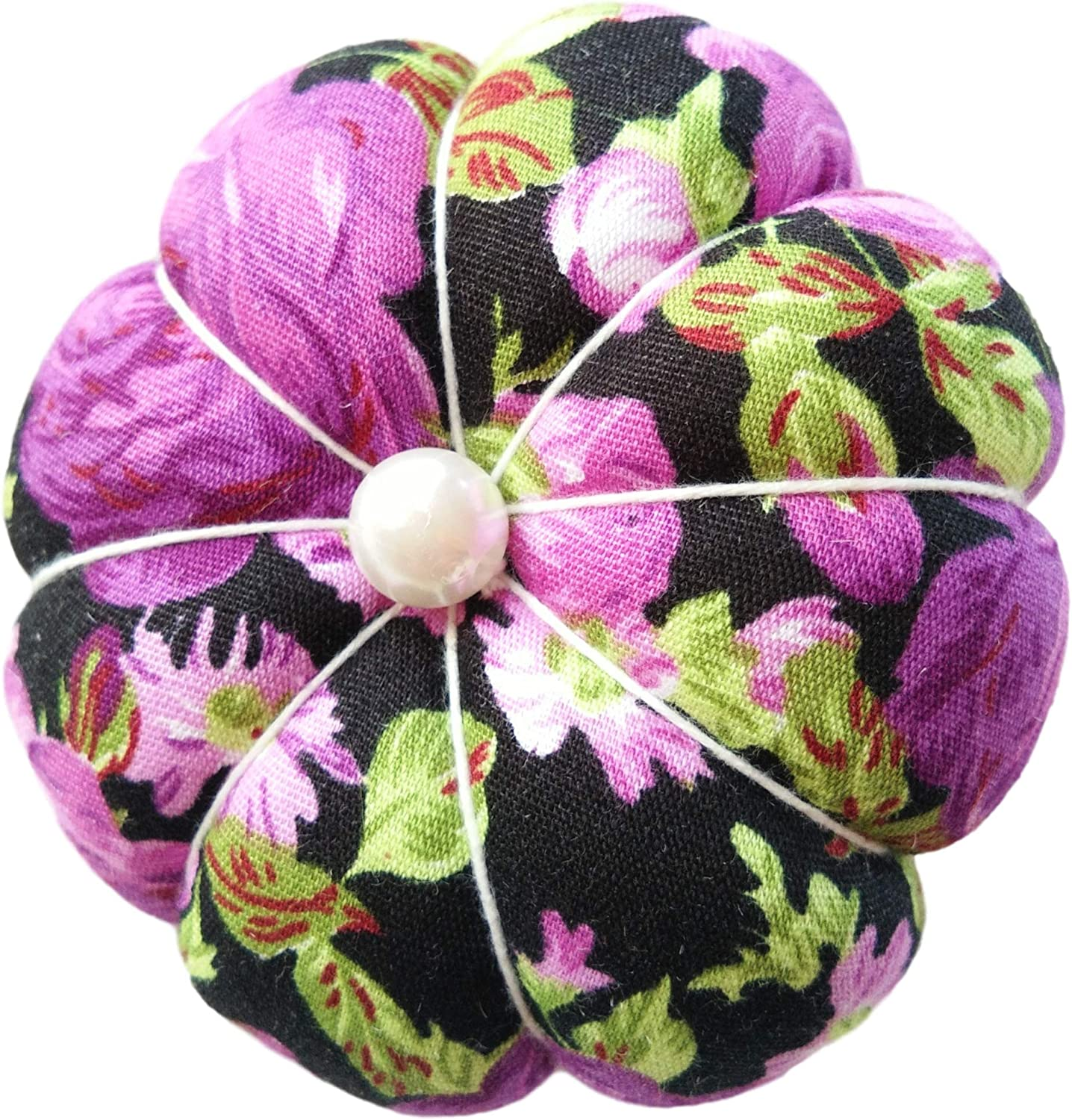CUSHYSTORE Purple on Black Floral Flower Wrist Pin Needle Cushion Pincushion for Sewing with Adjustable Elastic Strap Fit All Wrist Sizes