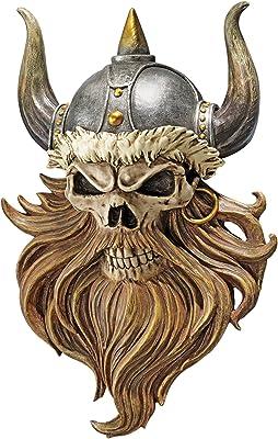 Design Toscano Skull of Valhalla Viking Warrior Wall Sculpture Plaque, 14 Inch, Full Color Finish