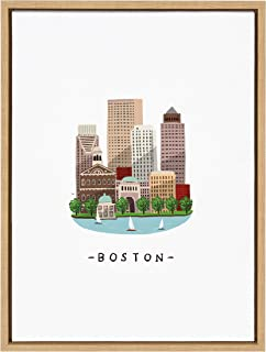 Kate and Laurel Sylvie Boston Skyline Illustration Framed Canvas Wall Art by Maja Tomljanovic, 18x24 Natural, Bohemian Cit...