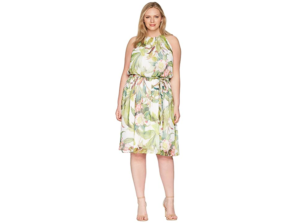 Adrianna Papell Plus Size Tahitian Tropics Fit and Flare (Ivory Multi) Women
