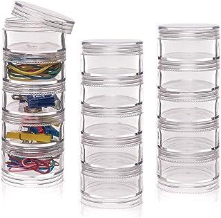 Baker Ross Pots de rangement empilables avec couvercle à visser (3lots) - Rangement pour les loisirs créatifs des enfants