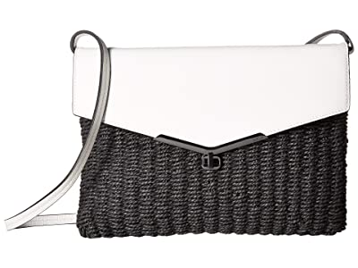 Botkier Valentina Convertible Straw Crossbody (Black/White) Cross Body Handbags