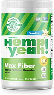 Manitoba Harvest Hemp Yeah! Organic Max Fiber Protein Powder, Vanilla, 16oz; with 10g of Fiber, 9g Protein and 1.9g Omegas 3&6 per Serving, Preservative Free, Non-GMO