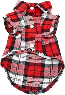 DAYONG Dog Shirt - Breathable Dog Plaid T-Shirt, Soft Basic Pet Vest Tee Clothes for Small Medium Large Dogs Cats Puppy (M)