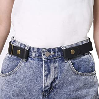 Buckle Free Elastic Belts for Women Plus Size Stretch Leather High Waist Belt for Men Jeans Pants Invisible