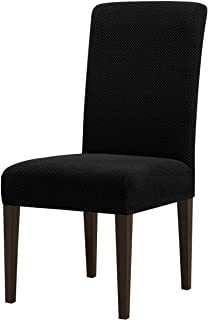 Best subrtex Dining Room Chair Slipcovers Parsons Chair Covers Sets Stretch Dining Chair Covers Removable Kitchen Chair Covers Chair Protector Covers for Dining Room, Restaurant , Hotel(4, Black) Review