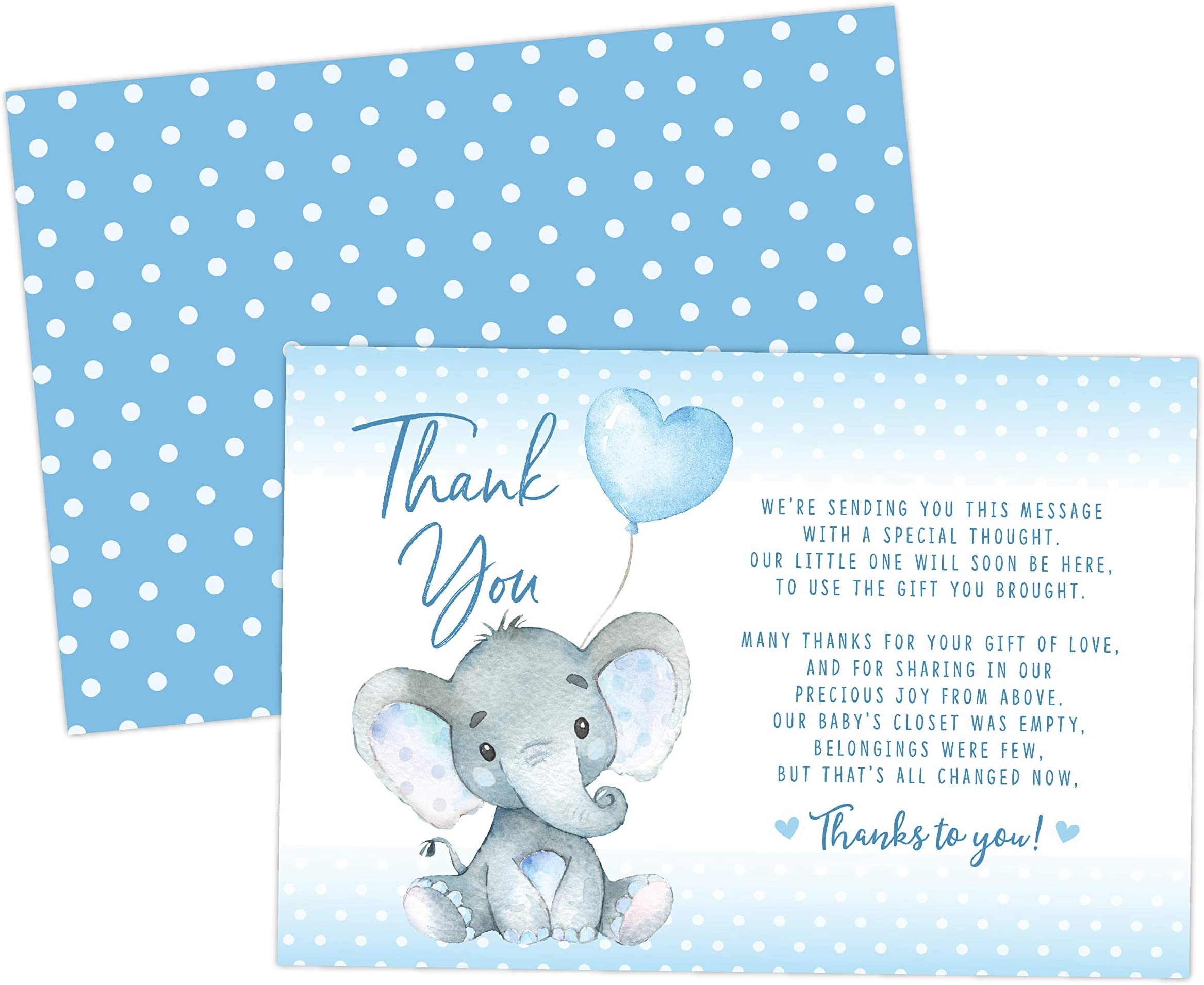 Amazon Com Elephant Baby Shower Thank You Cards 20 Count Including Envelopes Baby