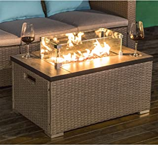 COSIEST Outdoor Propane Fire Pit 32-inch x 20-inch Rectangle Warm Gray Wicker Fire Table(40,000 BTU), Glass Wind Guard, Free Lava Rocks and Waterproof Cover, Fits 20 gal Tank Outside