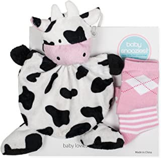 Snoozies Cozy Little Lovies Plush Satin Baby Blanket and 2 Pair Sock Gift Pack - Cow