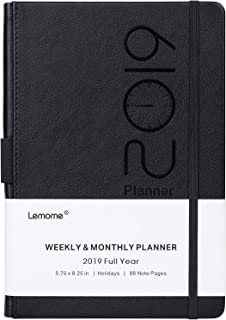 """Planner 2019 – Academic Weekly, Monthly and Year Planner with Pen Loop, to Achieve Your Goals & Improve Productivity, Thick Paper, Inner Pocket, 5.75"""" x 8.25"""", Black"""