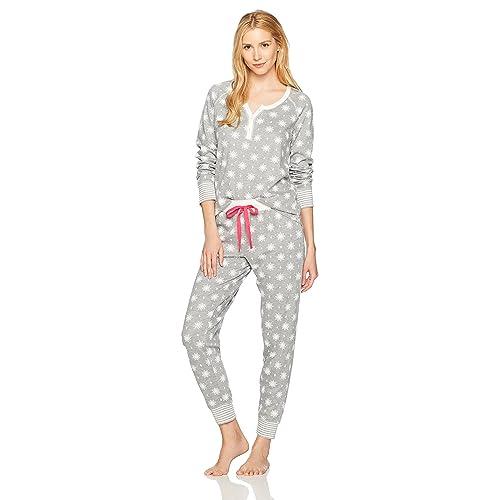 d5fd1dd695 Mae Women s Sleepwear Vintage Thermal Loose Fit Henley Pajama Set