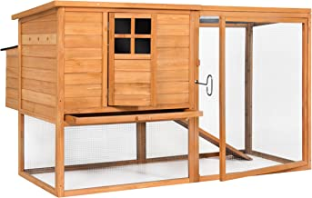 Best Choice Products Outdoor Wooden Chicken Coop Nesting Hen House, 66in, Brown, w/Poultry Cage