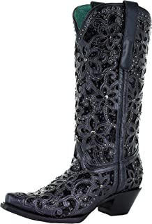 CORRAL A3752 Black Inlay Embroidered Studs Boots