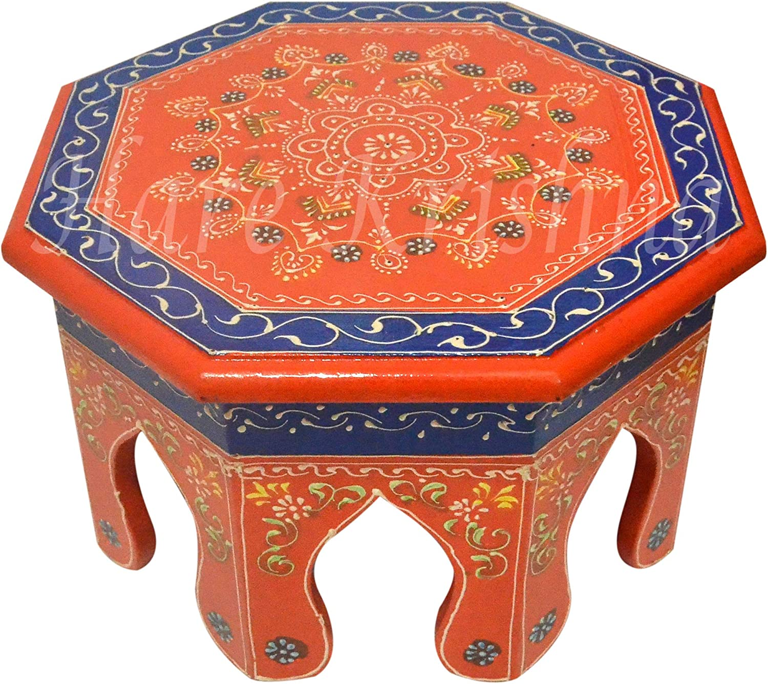 Round Asian Furniture Side End Low Table Wooden Handmade Pooja Chowki Bajot 10 x 10 x 6 Inches