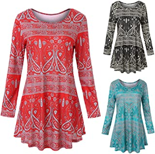 Womens Long Sleeve O Neck Floral Dresses Ladies Summer Casual T Shirts Tops