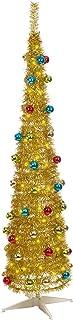 The Christmas Workshop 88210 182,88 cm Decorada Slim Line Pop-up árbol de Navidad, Dorado