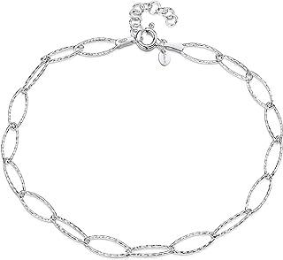 Amberta 925 おしゃれ 脚ブレスレットレット 純銀製 - アンクレット 調整 - 0.63 cm 喜平 チェーン - 可愛い 安い ア プレゼント セット - 長さ サイズ 22 cm - 26 cm