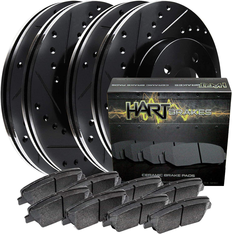 Hart Brakes Large-scale sale Black Free shipping Front Rear Drill Slot Rotors Ceramic Brake p +