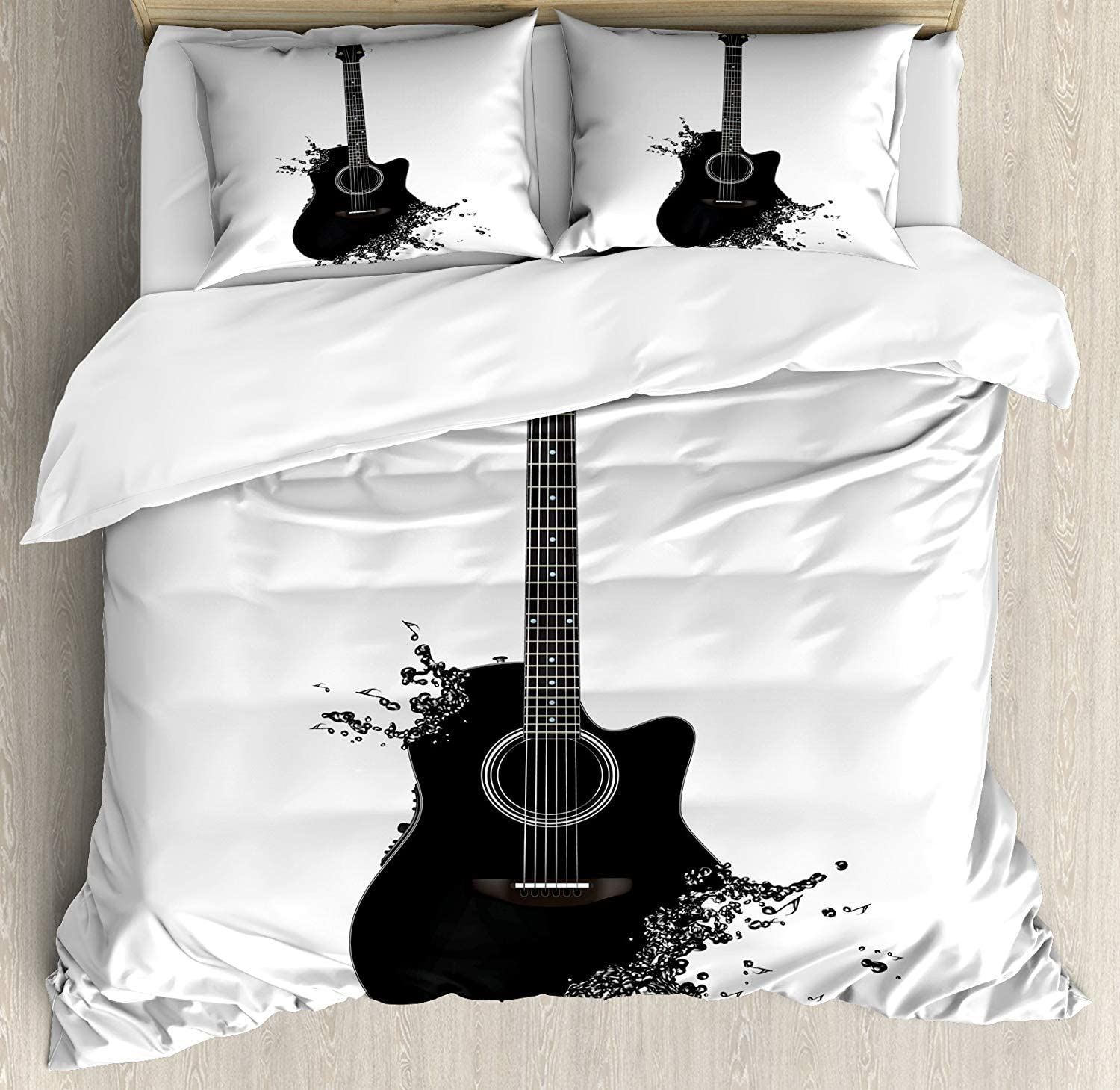 Geometric Guitar Funky Print Music Quilted Bedspread /& Pillow Shams Set