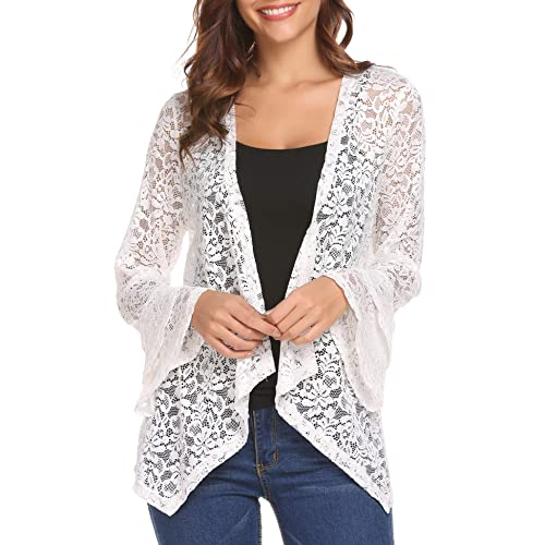 246eadd313c Deawell Women s Bell Sleeve Open Front Cardigans Lace Crochet Loose Casual  Cover Up