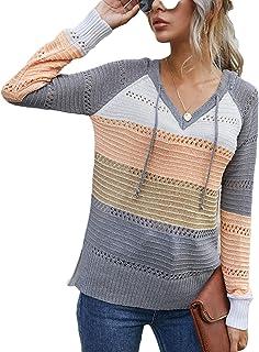 Vershow Womens Color Block Sweaters Drawstring Long Sleeve Hoodies Knitted Pullover Sweatshirts